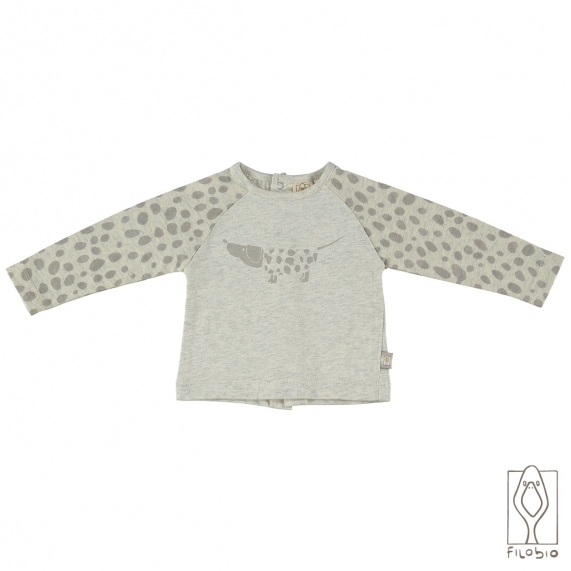 Baby T-shirt in organic cotton jersey with dog print