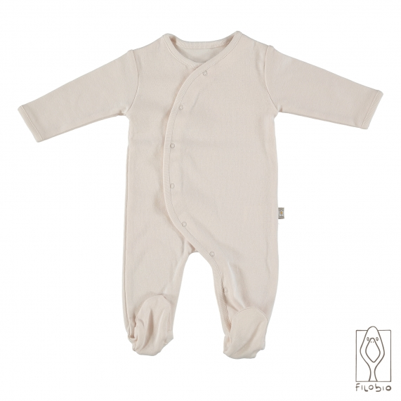 Footed baby girl onesie in organic cotton