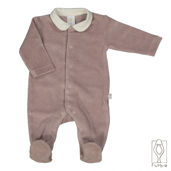 Footed baby onesie in organic cotton