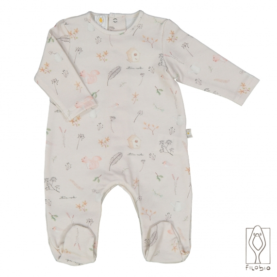Baby footed onesie in organic cotton