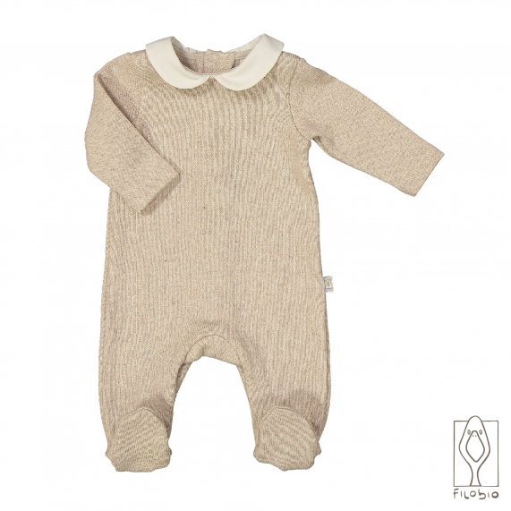 Baby onesie on cotton knitted fabric