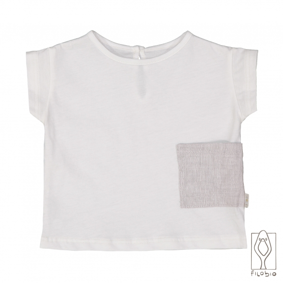 Baby boy T-Shirt in organic cotton with linen pocket