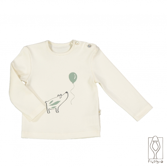 T-shirt long sleeve for baby in organic cotton