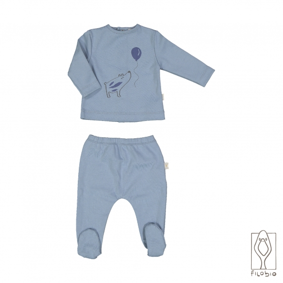 Two pieces baby set in pure organic cotton