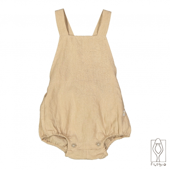 Baby sleeveless dress in linen denim