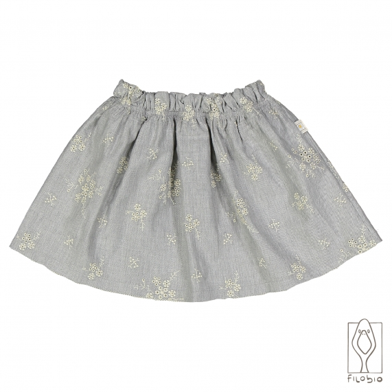 Gonna in flanella ricamata con tulle