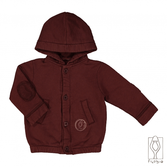 Hooded baby fleece in organic cotton